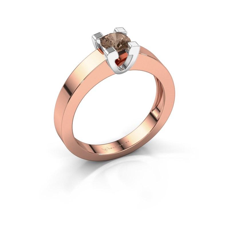 Promise ring Anne 1 585 rosé goud bruine diamant 0.40 crt