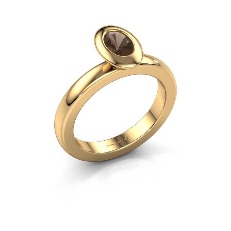 Stacking ring Trudy Oval 585 gold smokey quartz 6x4 mm