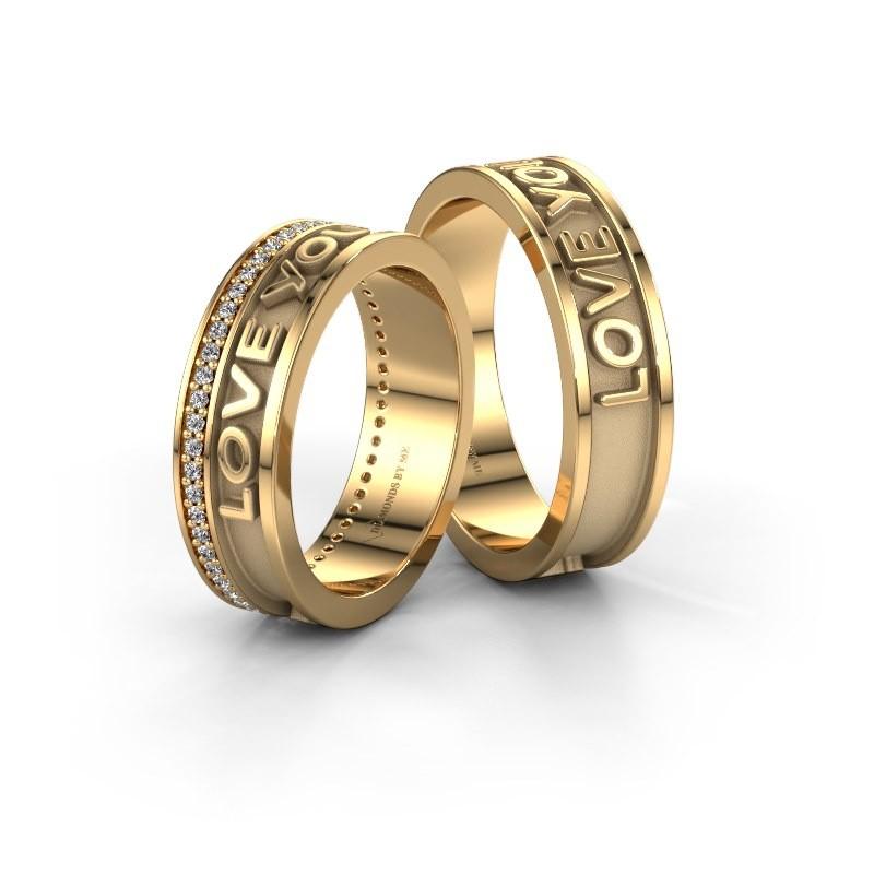 Trouwringen set WHR0435LM ±6x2 mm 14 karaat goud diamant 0.005 crt