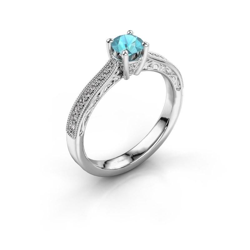 Belofte ring Shonta RND 585 witgoud blauw topaas 4.7 mm