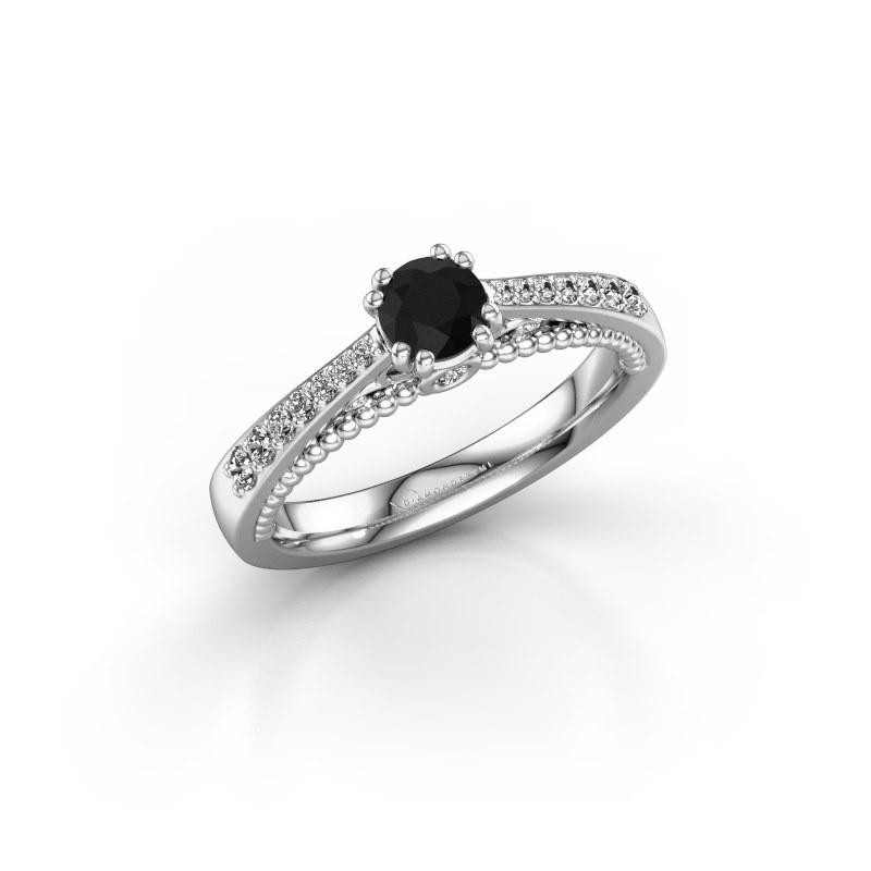 Verlovingsring Rozella 585 witgoud zwarte diamant 0.578 crt