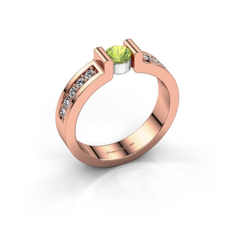 Verlovingsring Isabel 2 585 rosé goud peridoot 4 mm