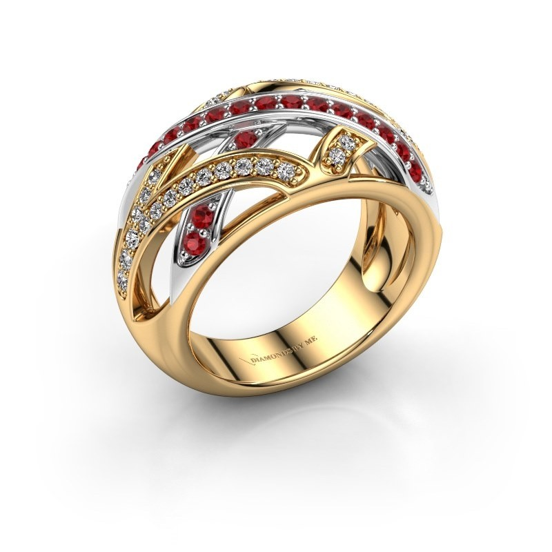 Ring Yinthe 585 goud robijn 1.5 mm