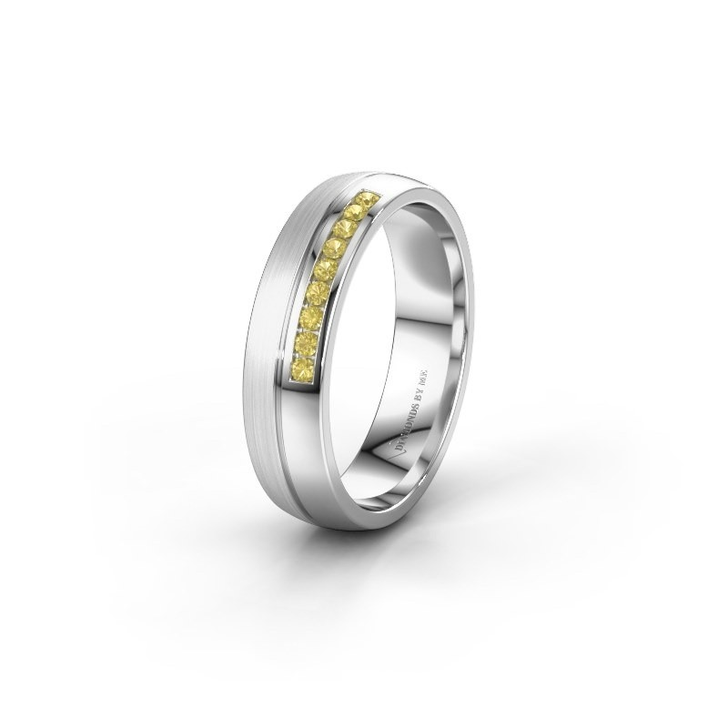 Wedding ring WH0209L25APM 585 white gold yellow sapphire ±0.20x0.07 in