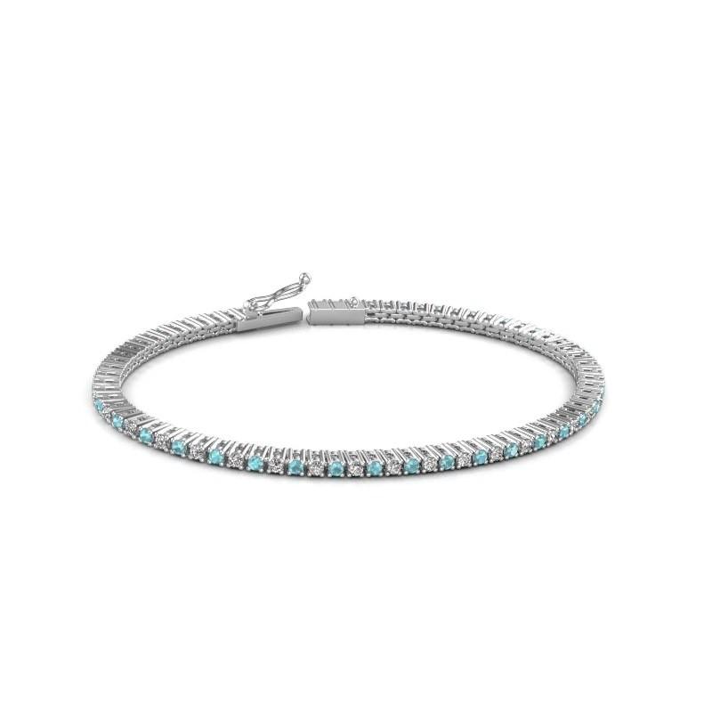 Tennis bracelet Simone 585 white gold blue topaz 2 mm