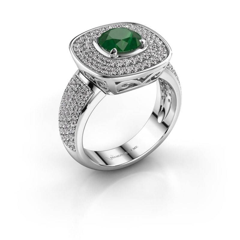 Ring Eliana 925 zilver smaragd 6 mm