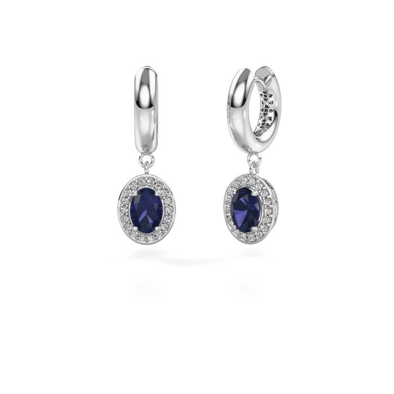 Drop earrings Annett 950 platinum sapphire 7x5 mm
