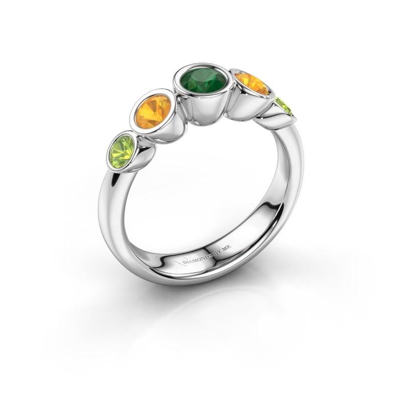 Ring Lizz 585 witgoud smaragd 4 mm