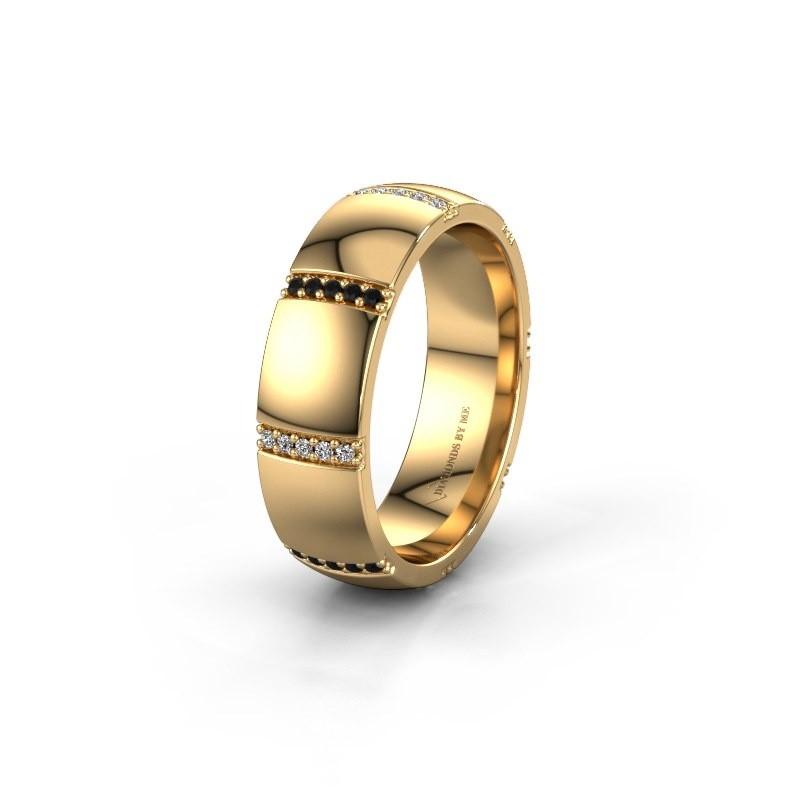Trouwring WH2124L26B 375 goud zwarte diamant ±6x2 mm