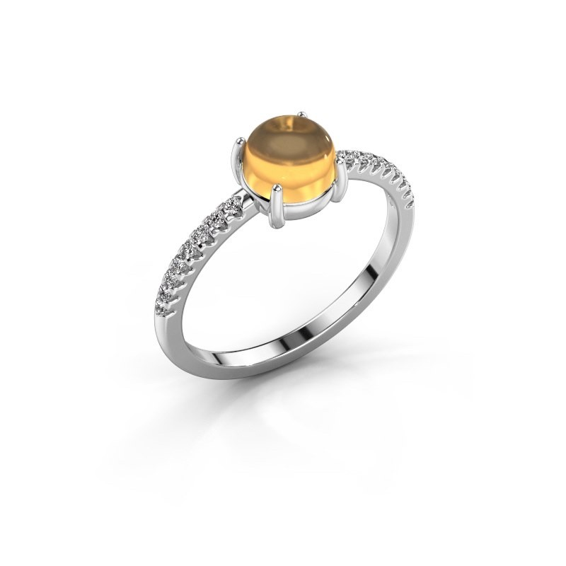 Ring Cathie 585 witgoud citrien 6 mm