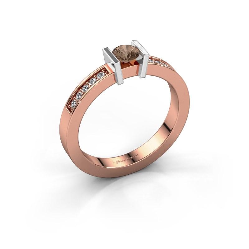 Aanzoeksring Maryam 585 rosé goud bruine diamant 0.35 crt