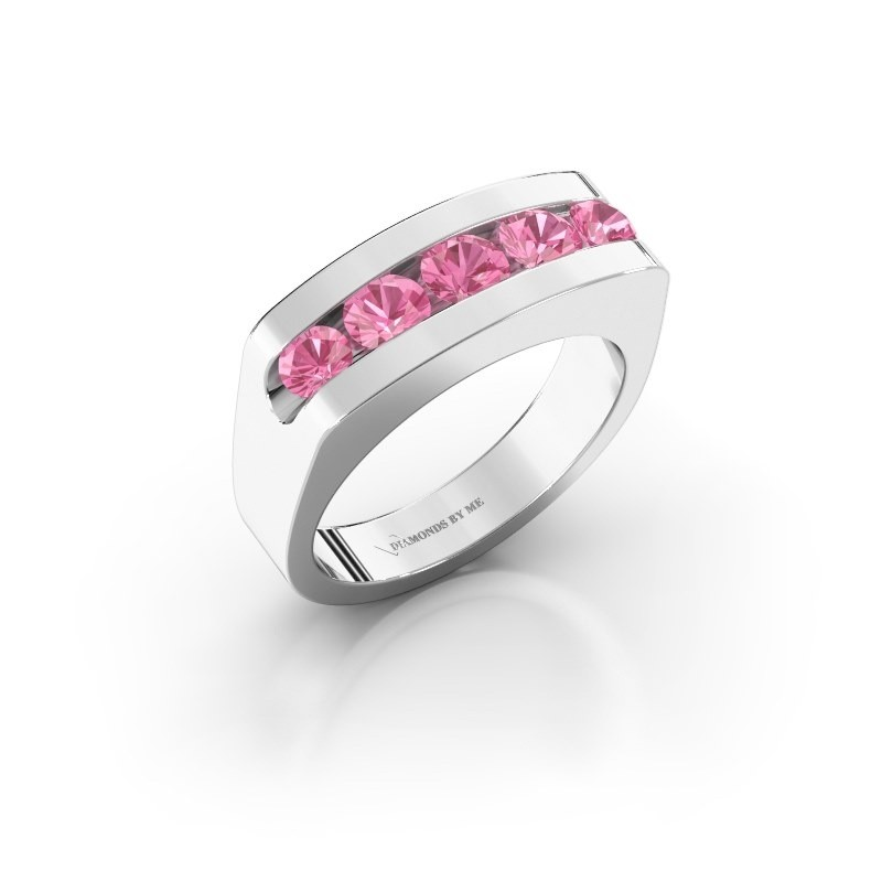 Men's ring Richard 375 white gold pink sapphire 4 mm
