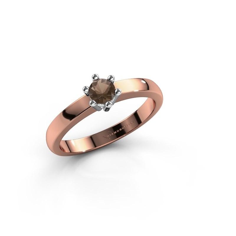 Verlovingsring Luna 1 585 rosé goud rookkwarts 3.7 mm