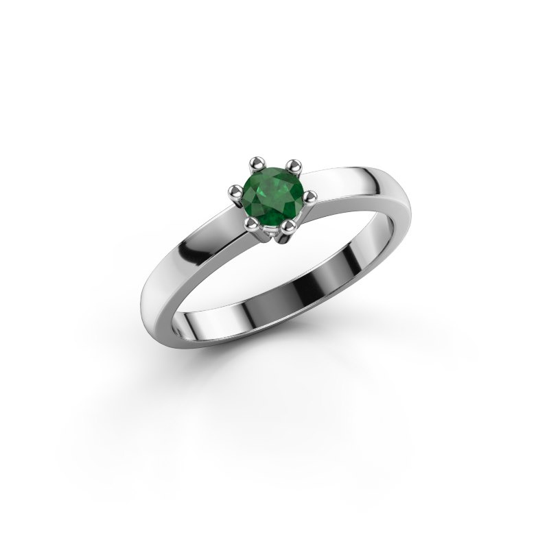 Engagement ring Luna 1 585 white gold emerald 3.7 mm