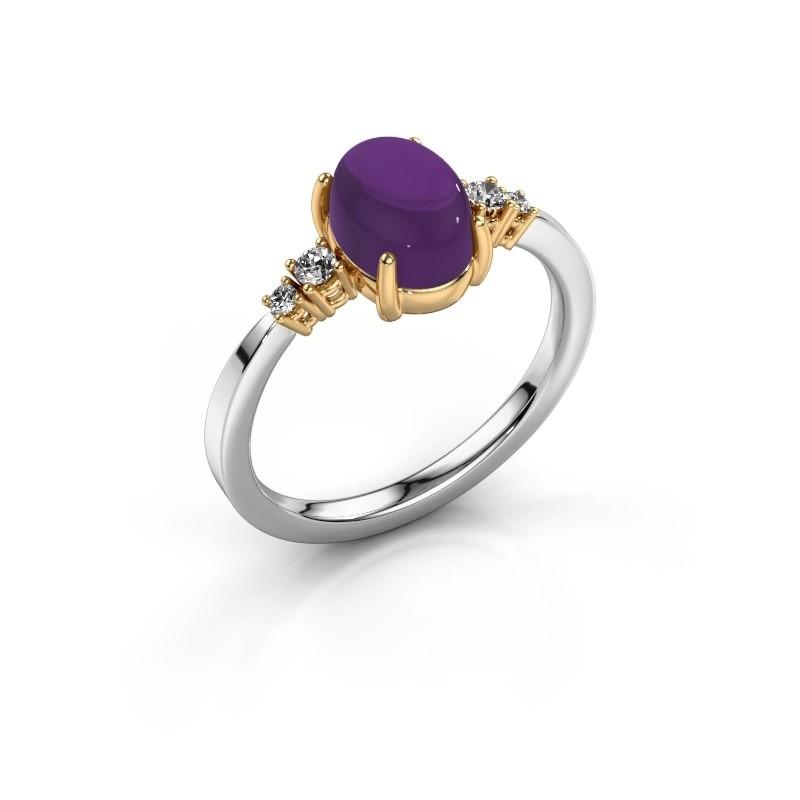 Ring Jelke 585 witgoud amethist 8x6 mm