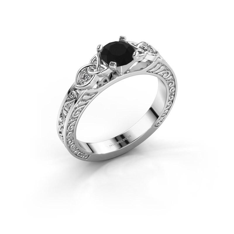 Bague de fiançailles Gillian 585 or blanc diamant noir 0.62 crt
