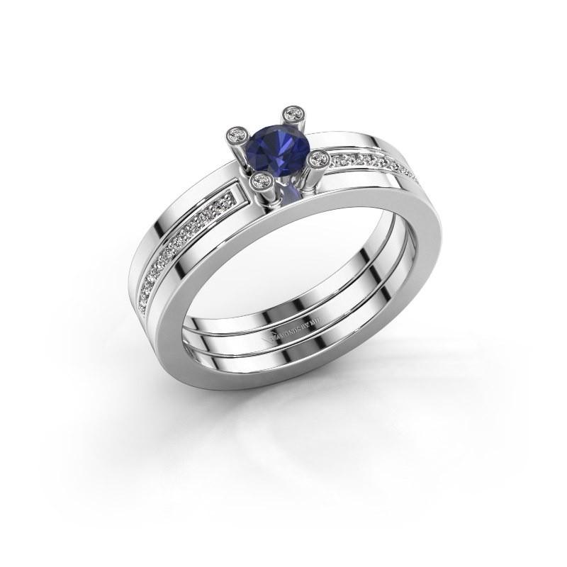 Ring Alisha 585 witgoud saffier 4 mm