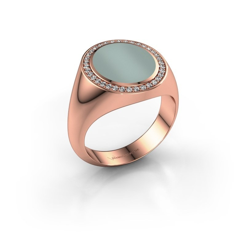 Signet ring Adam 3 375 rose gold green sardonyx 13x11 mm