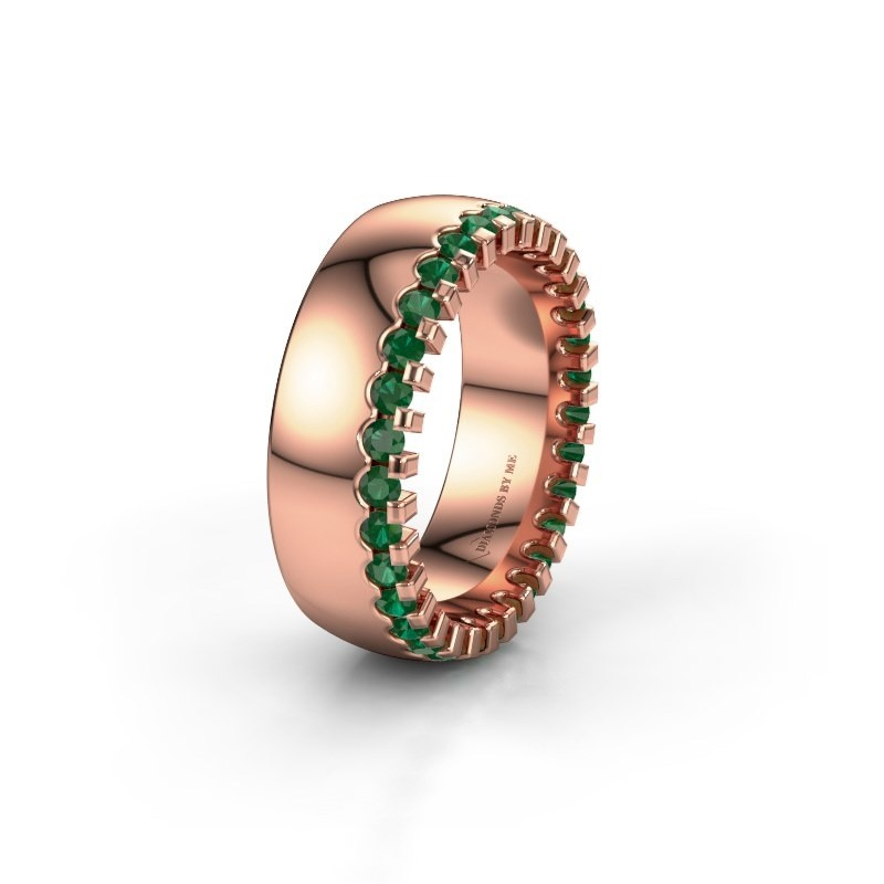 Wedding ring WH6120L27C 375 rose gold emerald ±7x2.2 mm