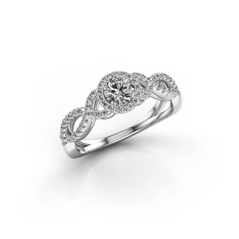Engagement ring Dionne rnd 585 white gold diamond 0.61 crt