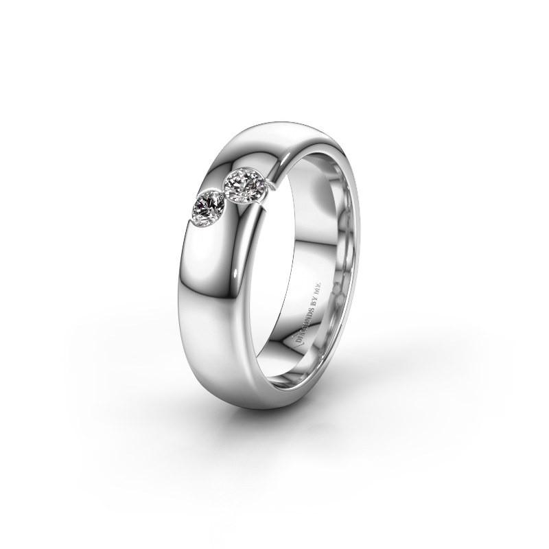 Wedding ring WH1003L26C 585 white gold zirconia ±0.24x0.09in