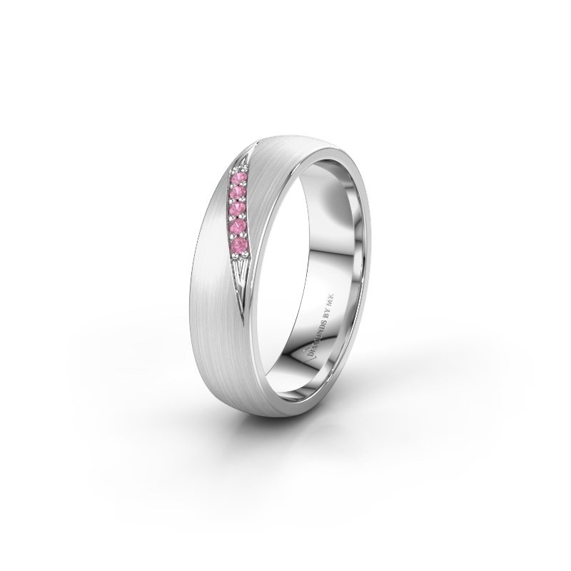 Wedding ring WH2150L25AM 585 white gold pink sapphire ±5x1.7 mm