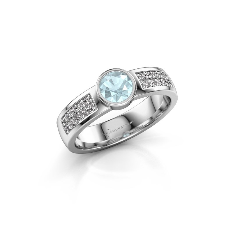 Engagement ring Ise 3 950 platinum aquamarine 4.7 mm
