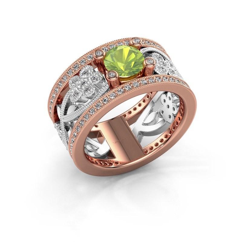 Ring Severine 585 rosé goud peridoot 6 mm