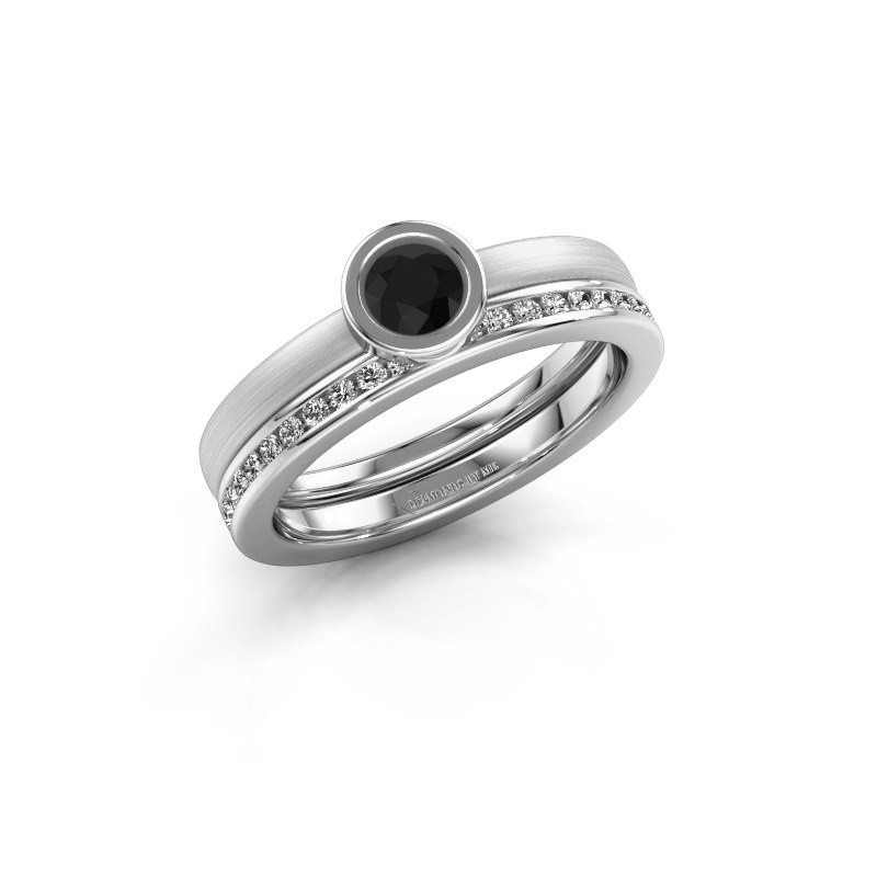 Ring Cara 585 witgoud zwarte diamant 0.74 crt