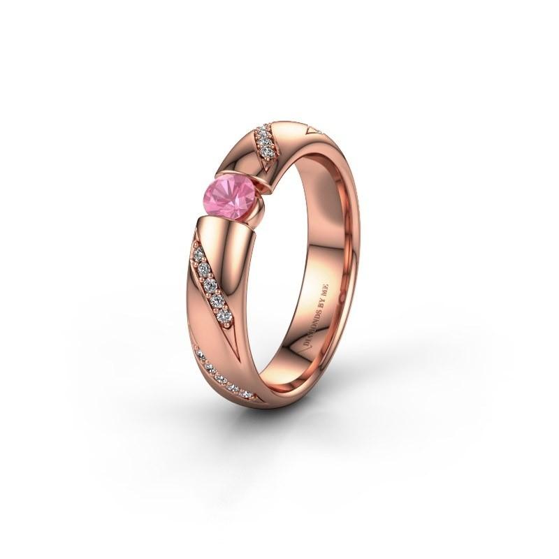 Trouwring WH2102L34A 375 rosé goud roze saffier ±4x1.7 mm
