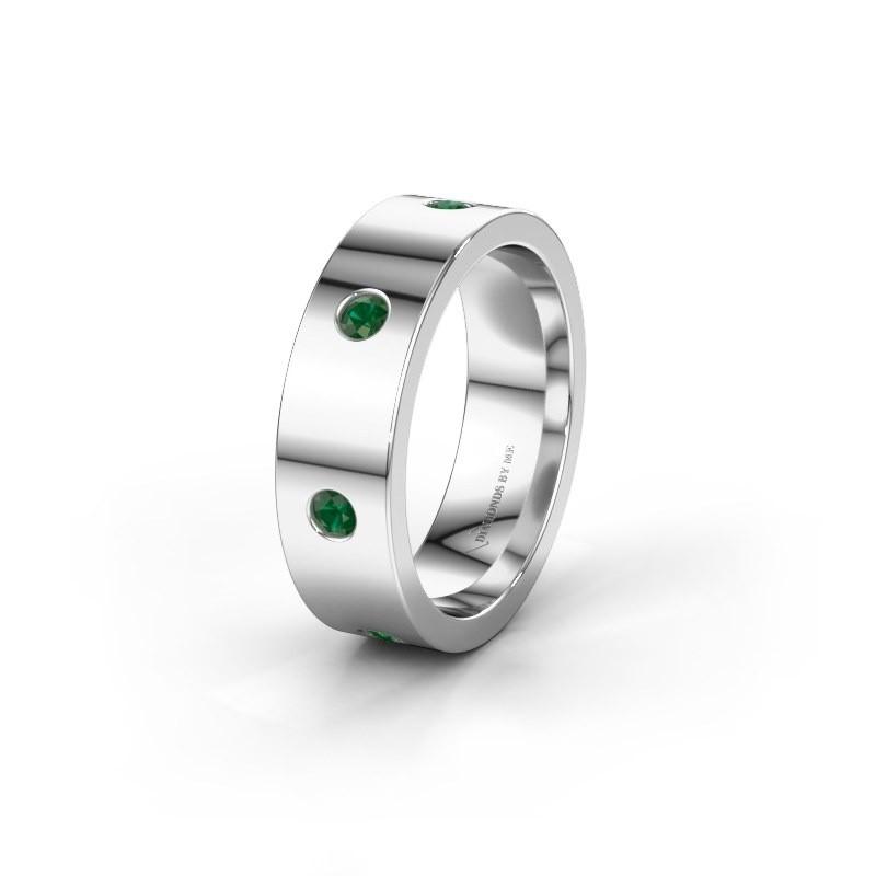 Trouwring WH0105L16BP 375 witgoud smaragd 2.4 mm ±6x2 mm