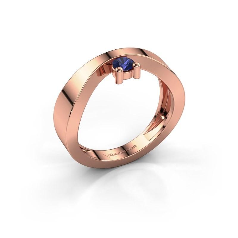 Verlovingsring Elisabeth 375 rosé goud saffier 3.4 mm