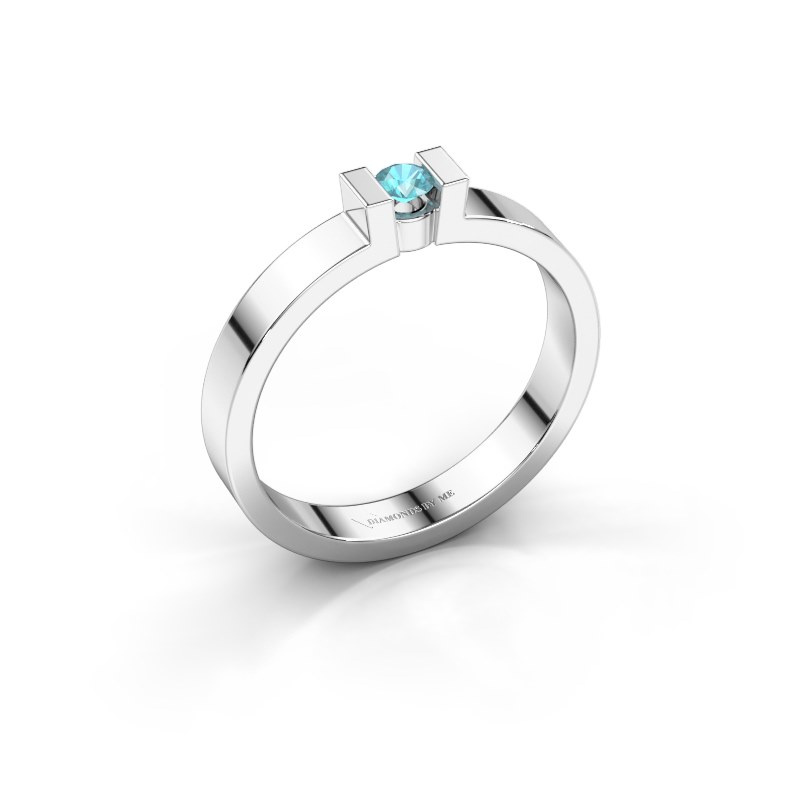 Verlovingsring Lieve 1 585 witgoud blauw topaas 3 mm