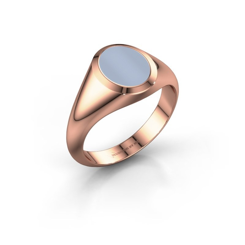 Signet ring Evon 1 375 rose gold light blue sardonyx 10x8 mm