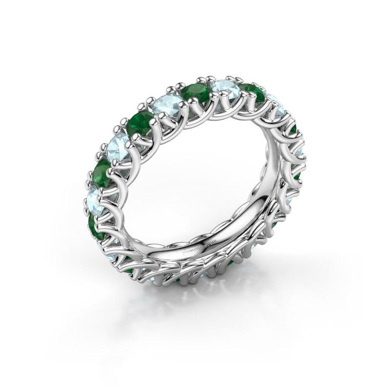Ring Fenna 585 witgoud smaragd 3 mm