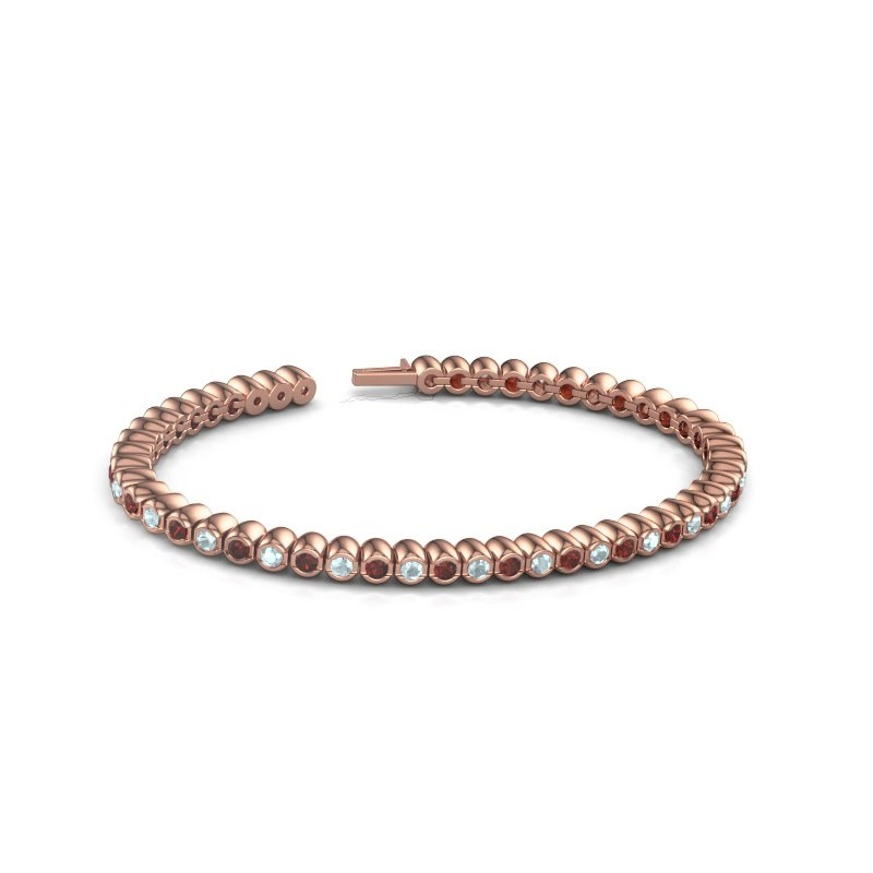 Tennisarmband Patrica 375 rosé goud granaat 2.4 mm