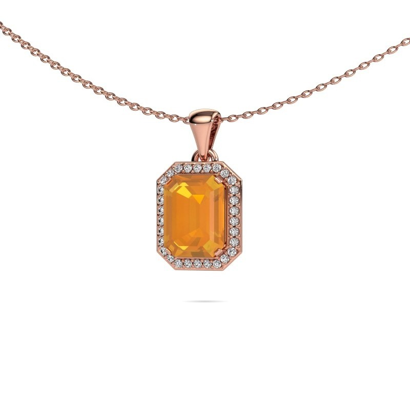 Ketting Dodie 375 rosé goud citrien 9x7 mm