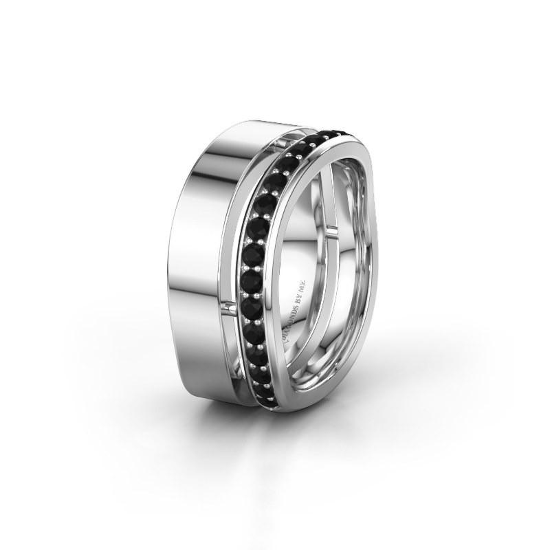 Bague de mariage WH6008L18BP 925 argent diamant noir ±10x2 mm