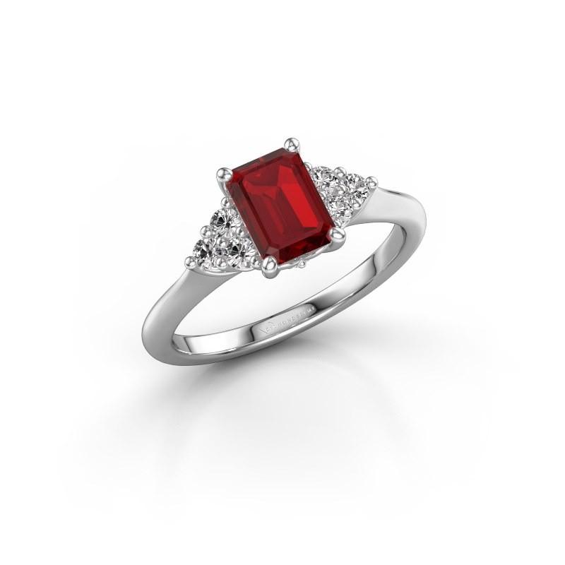 Luxury Platinum Engagement Ring With 7x5 Mm Ruby Felipa Eme Handmade