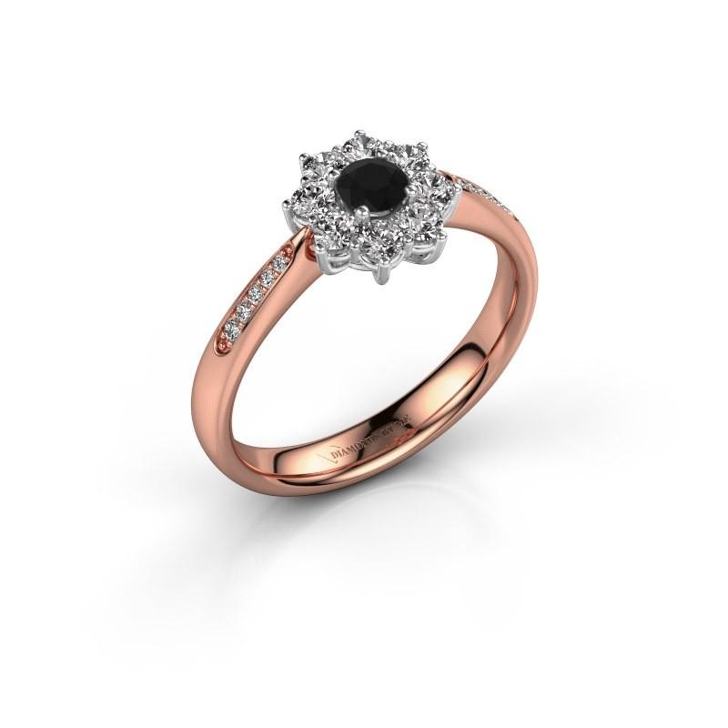 Verlovingsring Carolyn 2 585 rosé goud zwarte diamant 0.18 crt
