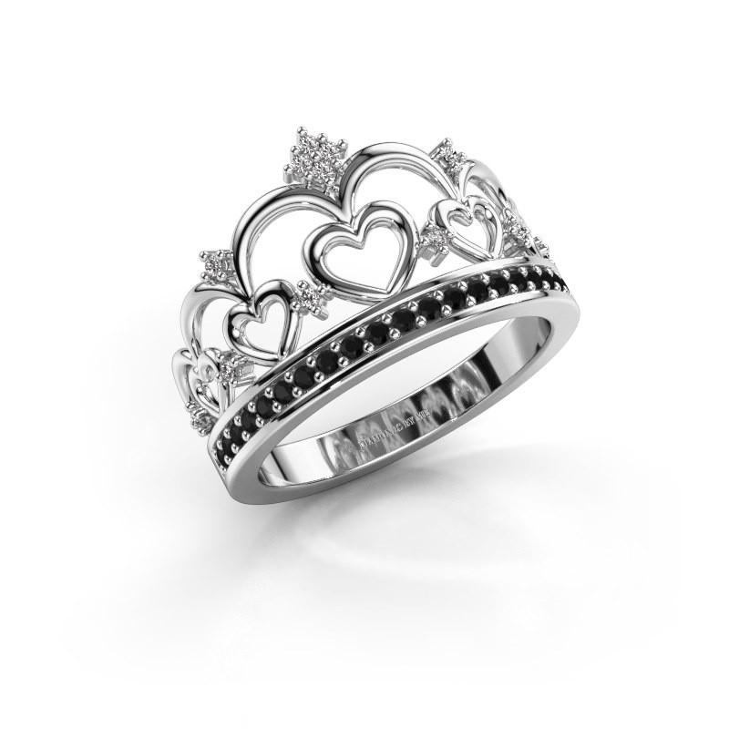 Ring Kroon 2 925 zilver zwarte diamant 0.269 crt