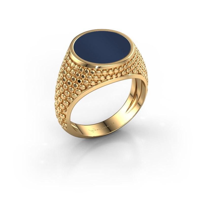 Zegelring Zachary 2 585 goud donker blauw lagensteen 12 mm