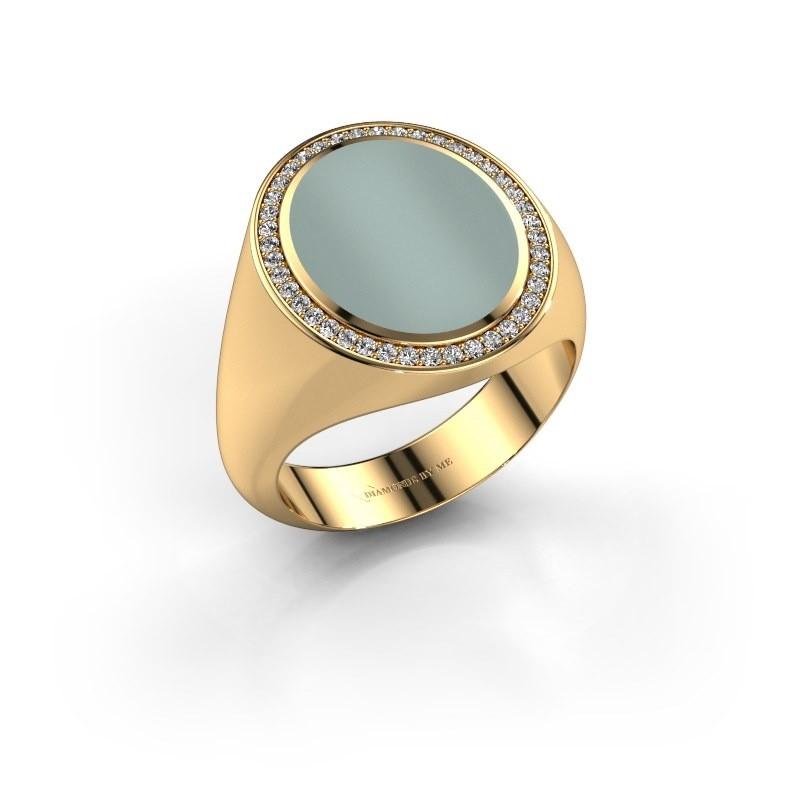 Signet ring Adam 4 375 gold green sardonyx 15x12 mm