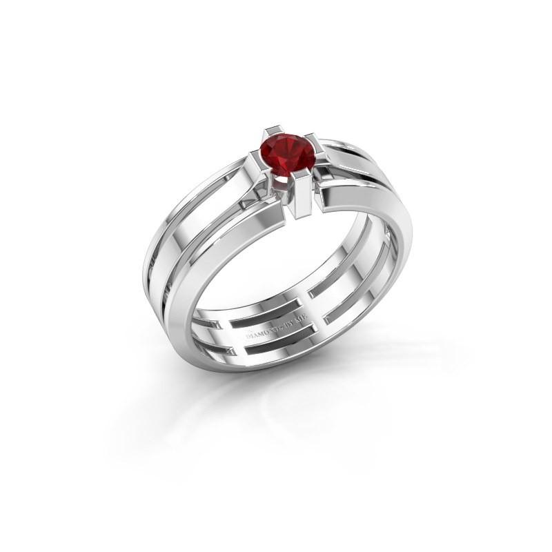 Heren ring Sem 950 platina robijn 4.7 mm