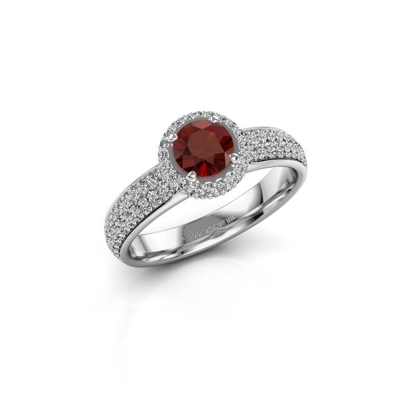 Engagement ring Mildred 950 platinum garnet 5 mm