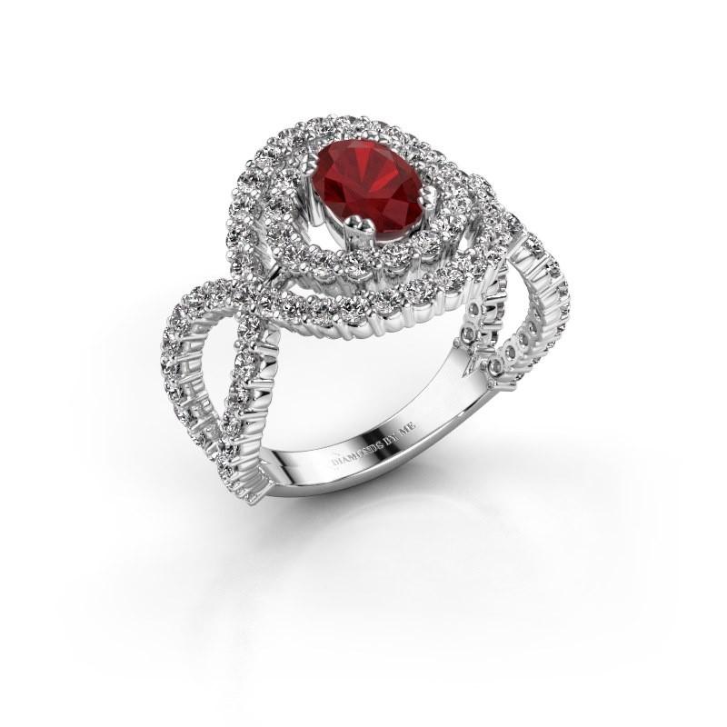 Ring Chau 950 platina robijn 7x5 mm