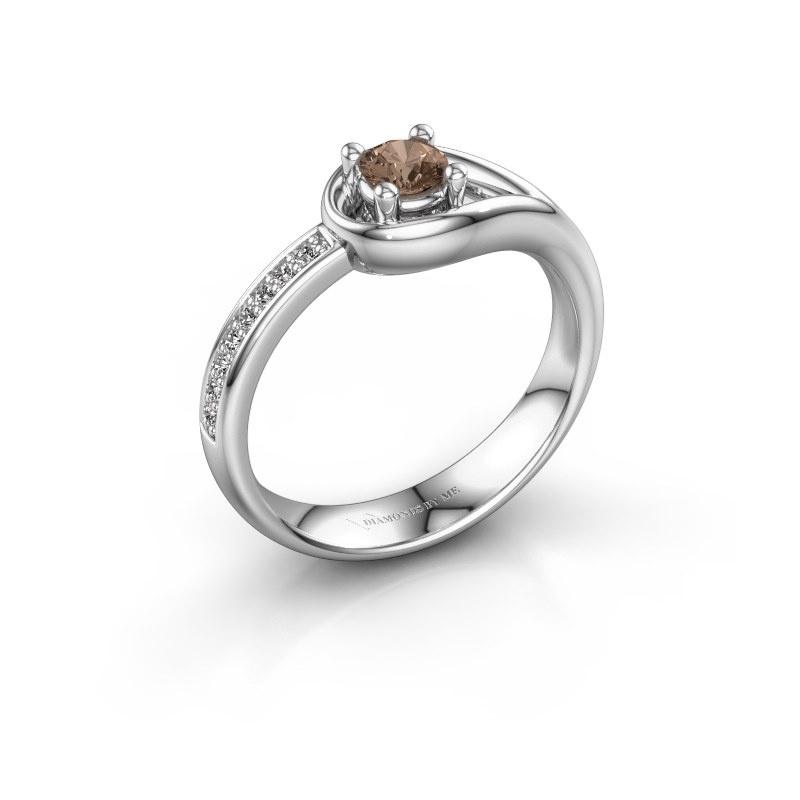 Ring Zara 585 witgoud bruine diamant 0.31 crt