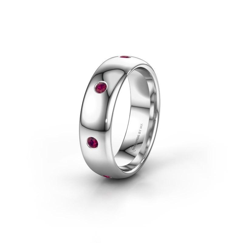 Wedding ring WH0105L36BP 950 platinum rhodolite ±6x2 mm
