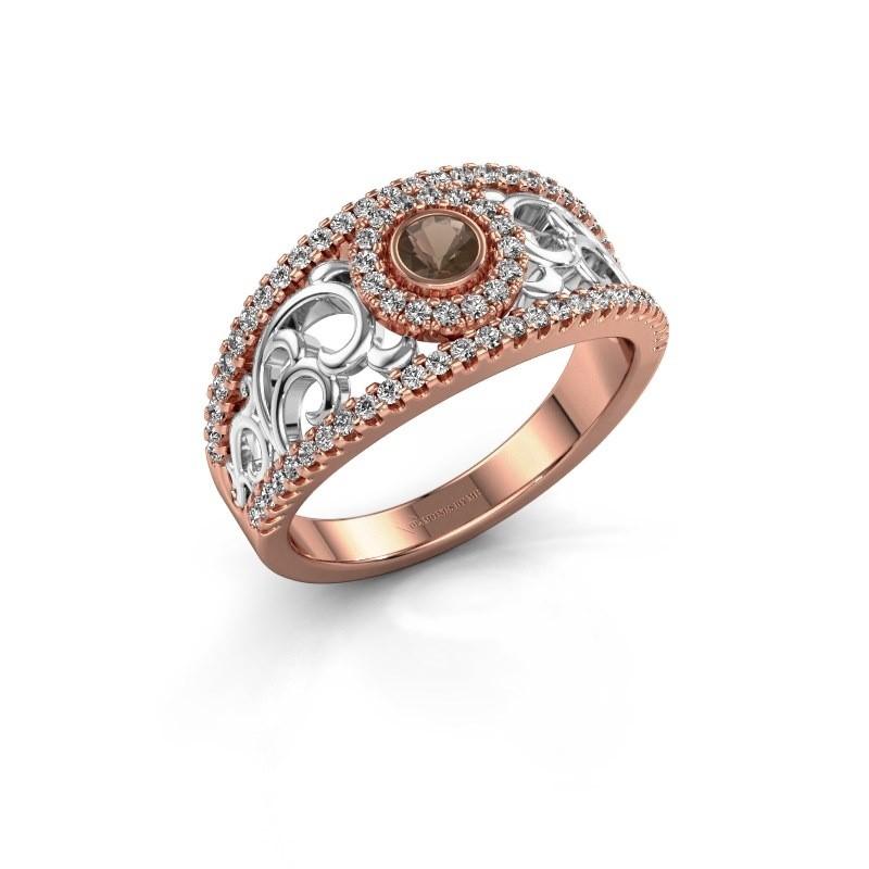 Verlovingsring Lavona 585 rosé goud rookkwarts 3.4 mm
