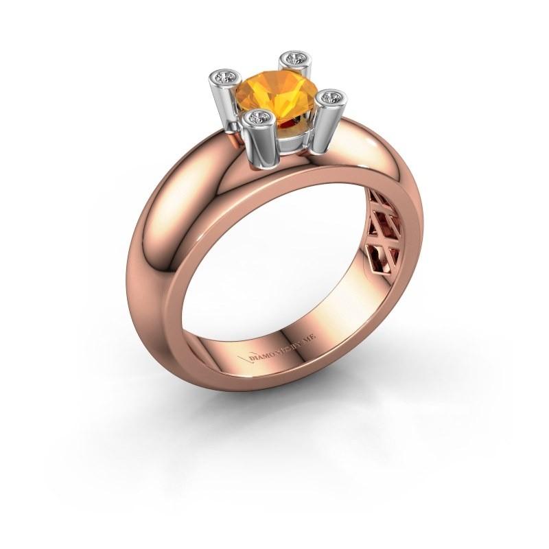 Ring Cornelia Round 585 rose gold citrin 5 mm